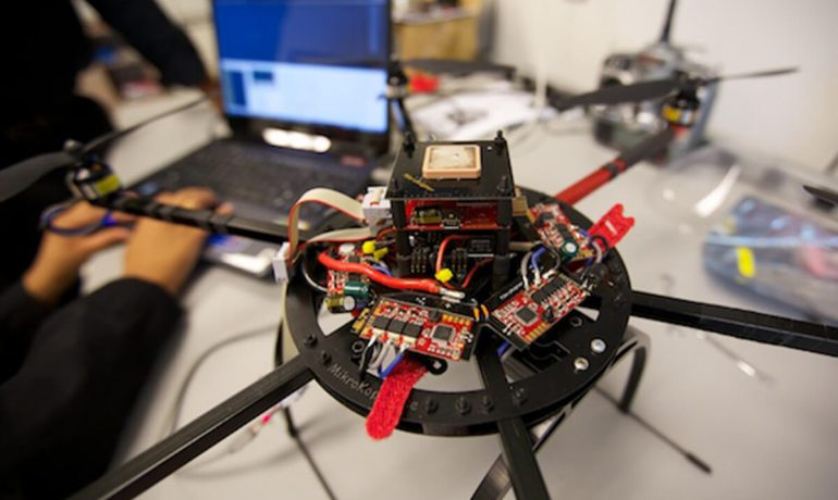 Team works on programming drone technology in NIA lab