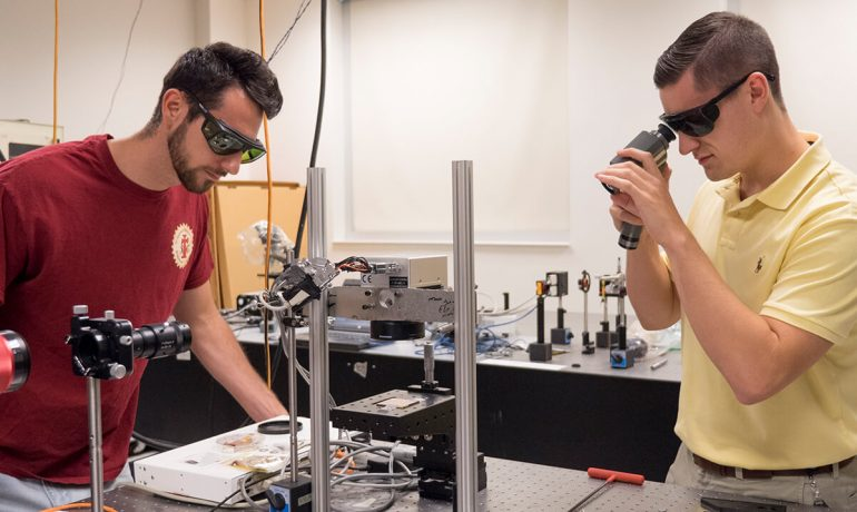 Two student researchers at the National Institute of Aerospace