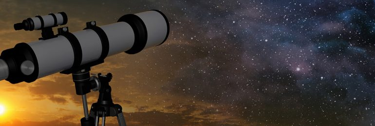 Telescope setup during night to view starry night sky