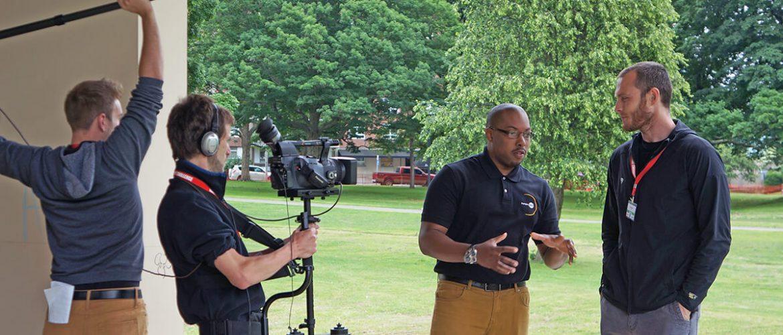 NIA digital media team video recording man talking about NASA 360 program